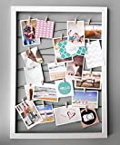 Spetebo Fotohalter 75x55 cm weiß - Leine mit 20 Holz Klammern - Fotorahmen Bilder Rahmen Galerie