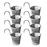 ALEOHALTER Metall-Hängepflanzen/Blumentöpfe, 8 Stück, Geländer im Vintage-Stil, Eimer, zum Aufhängen, Blumentopf, Zaun, Balkonhalter