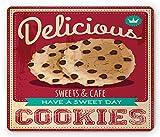 Cookie Mouse Pad, Chocolate Chip Werbung Doughy Have a Day Schriftzug Delicious Vintage, Rechteck Rechteck Rutschfeste Gummimaus, Multicolor