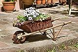 Deko Schubkarre aus Holz & Weide zum Bepflanzen, Blumenkübel, Pflanzk
