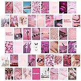 BeYumi 50 Stück Ästhetisches Bild für Wandcollage, 4'x 6' Rosy Collage Druck Set Warme Farbe Raumdekoration für Mädchen, Wandkunstdrucke für Zimmer Schlafsaal Foto-Display VSCO Poster für Schlafzimmer