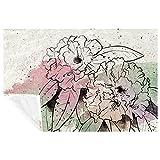 BestIdeas Rhododendron Aquarell-Blumendruck, weich, warm, gemütlich, Überwurf für Bett, Couch, Sofa, Picknick, Camping, Strand, 150 × 100 cm