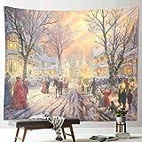 Neue Weihnachten Schneeszene Tapisserie Dekoration Neujahr Stoff Kunst hängen Malerei Wandbehang Hintergrund Stoff A15 180x200cm