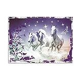 GRAZDesign Wandtattoo Pferde mit Swarovski Steinen, Wandsticker für Mädchen, Wandaufkleber Lila Farben / 79x57cm Breite x Hö