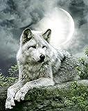 Puzzel Für Erwachsene Jigsaw Puzzle 1000 Tiger Schwimmt Im See Mit Weißem Wolf Und Mond DIY Holzpuzzle Einzigartiges Geschenk Wohnkultur Stil