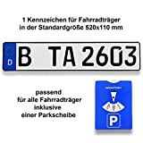 TA TradeArea 1 Fahrradträger Kennzeichen | DIN-Zertifiziert & reflektierend inklusive Einer Parkscheibe