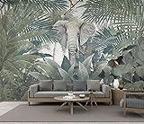 Fototapete 3D Effekt Tapete Tropischer Regenwald Pflanzt Tierelefantenlandschaft Wandbilder Fototapete Wandtapete für Schlafzimmer Wohnzimmer Sofa Tv Hintergrund Wanddekoration,300x210