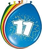 Folat 08211 11. Geburtstag Ballons-8 Stück, Mehrfarbig