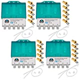 4X PRO DiseqC Schalter Switch 4/1 mit Wetterschutzgehäuse HB-DIGITAL 4X SAT LNB 1 x Teilnehmer / Receiver für Full HDTV 3D 4K UHD + 20 x Vergoldete F-Stecker Vergoldet