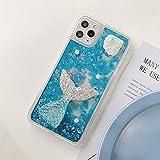 Miagon Flüssig Mädchen Frauen Treibsand Hülle für Samsung Galaxy A32 4G,Glitzer Handyhülle Durchsichtig 3D Schutzhülle Case Cover,Fisch Blau