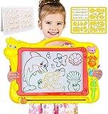 Magnetische Zeichenbrett - Große (43 x 30 x 5 cm) Kinder Zaubertafel Doodle Board Pad Bunt Zeichenbrett mit 3 Magnetische Stempel Zaubertafeln für Kinder ab 3 4 5 6 7 Jahre Alt