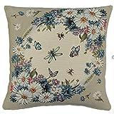 Sandner Kissenhülle 45x45 cm Margeriten Sofakissen Dekokissen Kissenbezug Gewebt Ornamentblumen