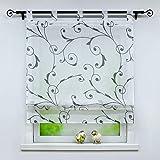 Yujiao Mao Voile Raffrollo mit Ranken Muster Dekorative Raffrollos mit Schlaufen Transparent Vorhang 1 Stück BxH 100x140cm