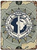 Anker und Weltkarte, Vintage Metall Zinn Zeichen Wanddekoration Kunst 11.8'x7.9' Familie Cafe Wanddekoration, Retro Art Malerei Eisenplatte Poster Wanddekoration