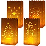 GPWDSN 20 Stück weiße Papiertüten Flammenfeste Laternen-Kerzentüten 4 Designs mit Baum, Sternen, Schneemann für Weihnachten, Hochzeit, Geburtstag Party Dekoration