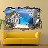 DQPCC Wandtattoo Griechenland Zakynthos Beach Wandaufkleber 3D Art Wandbild Office Home D