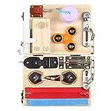 Hearthxy Activity Board Kinder Montessori Spielzeug Beschäftigt Board Holz Lernspielzeug Kleinkind Motorikspielzeug Sensorisches Spielzeug zur Lernen Grundleben Kleidungsfähigkeiten und Feinmotorik