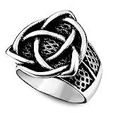 YABEME Männer Viking Triquetra Ring, Nordische Edelstahl Vintage Gothic Celtic Pagan Cool Rune Amulett Island Schmuck, Mit Valknut Geschenktüte,8