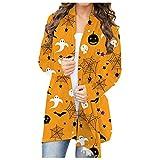 XTBFOOJ Halloween Cardigan Damen Cardigan Lang Dünne Jacke mit Leichter Transparenz Langarm Strickjacke Häkelweste Cardigan Kimono Bikini-Set Crossover Maxi Kleid Blumen