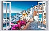 DesFoli Griechenland Santorino Insel Stadt Wandtattoo Wandsticker Wandaufkleber F2573 Größe 70 cm x 110