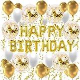 Premium Set, Geburtstagsdeko, Happy Birthday Girlande, Geburtstagsgirlande, in Gold, Happy Birthday Ballon, Birthday Deko