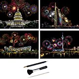 ShipeeKin 4X Kratzbilder, 290 x 210 MM Weltberühmte Sehenswürdigkeiten mit Feuerwerk Wandbild, Beschichtete Bunte Kratzpapier mit Werkzeug S