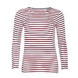 Sols Damen Marine T-Shirt, gestreift, langärmlig (XL) (Weiß/Rot)