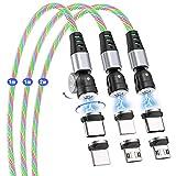 Magnetisches Ladekabel, AUFU Fließendes LED Kabel 1M+1M+2M 360°& 180°Drehung, Magnet USB Kabel Bunt Aufleuchtendes Datenkabel für Typ C/Micro USB