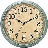 HYLANDA Wanduhr-Vintage Rund 30cm, Lautlosem Sweep Uhrwerk Nicht-Tickende, Großes Ziffernblatt Schwarz Arabischen Zahlen Leicht zu Lesen, Deko Geschenk für Wohnzimmer, Küche, Schlafzimmer, Büro(Braun)