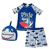Natashas Kinder Jungen Badeanzug Badenmode UV-Schutz 50+ Schwimmanzug Bade-Sets mit Sonnenhut (Blau, 70-80cm)