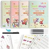 Magisches Übungsbuch mit Stift, 4 Stück, wiederverwendbares Kaligrafiebuch für Kinder, Schreibtafel, Kinder-Handschrift, zum Zeichnen, Mathematik, Zahlen, Englischer Alphabet-Buchstabe
