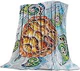 Sea Turtle Luxuriöse Flanell Werfen Decke für Schlafzimmer Wohnzimmer Sofa-Couch, Stuhl, Leichte, Warme Fleece-Decken für Alle Jahreszeiten, Braun Blau,50x60 Zoll