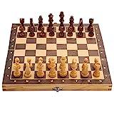 LXM Schachbrett-Set, Schachbrett-Set, faltbar, magnetisch, aus Holz, Spieltisch, Filz, 29 cm x 29 cm, für Erwachsene (Farbe: -, Größe: -)