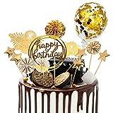 Tortendeko 13 stücke Kuchen deko cake Topper kuchendeko geburtstagstorte goldenen Papier Fans alles Gute zum Geburtstag Pailletten Ballon Feuerwerk Sterne für Gold Thema Geburtstagsfeier Jubiläum