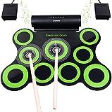 Elektronisches Schlagzeug, Drum Set, BONROB Roll Up Schlagzeug Midi Drum Kit mit Kopfhörer und eingebaute Lautsprecher Drum Pedals und Sticks, bis zu 10St. Weihnachtsgeschenk für Kinder