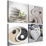 murando - Bilder Zen 80x80 cm Vlies Leinwandbild 4 Teilig Kunstdruck modern Wandbilder XXL Wanddekoration Design Wand Bild - Jing-Jang Steine Blumen beige Natur b-B-0234-b-i