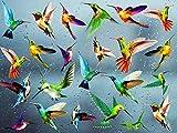 KAIRNE 24 Stück Fensteraufkleber, Kolibri, Vögel Aufkleber für Fenster, Wandtattoo, bunte Vögel, verhindert Vogelaufprall, selbstklebend, Tiere für Schlafzimmer, Wohnzimmer, Dek
