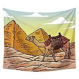 YYRAIN Kamelteppich In Der Wüste, Multifunktionales Strandtuch, Hotelcafé, Wandbehang, Heimtextilien, Bettwäsche Be 59.05x39.37 Inch{150x100cm} A