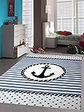 Kinderteppich Maritim Kinderzimmerteppich Jungen Teppich mit Anker in Blau Creme Größe 120x170