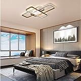 LED Modern Deckenleuchte Wohnzimmerlampe Deko Dimmbar Deckenlampe Braun Schlafzimmer Decke Lampe Acryl Schirm mit Fernbedienung Eckig Design Für Wohnzimmer Flur Küche Esstisch Wohn Leuchte (L70cm)
