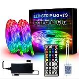 YMXLJJ 5050 RGB Farbwechsel-Lichtleisten, LED-Lichtleisten 10 Meter mit Fernbedienung, Dimmbare, Mehrfarbige Stimmungslichter für zu Hause, LED-Bandleuchten, LED-Lichtleisten-Komplettset,A44 11