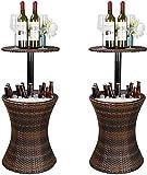 Höhenverstellbarer Cool Bar Rattan Stil Außenpatio Tabelle Designed Cooler All-Weather Wicker Bartisch mit Eiskübel für Party, Pool, Deck, Hinterhof