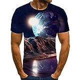 SNPQ Unisex 3D Aufdruck T-Shirts,Unisex-Kurzarmhemd Kreatives 3D-Gedrucktes Erdplanetenmuster Atmungsaktives Loses O-Ausschnitt-Blusengeschenk Für Frauenmännerjugendgeburtstag, S.