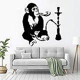 Shisha Wandtattoo Entspannende Arabische Wandaufkleber Affe Affe Vinyl Aufkleber Nach Hause Wohnzimmer Dekoration Wandbild Innenkunst Dekoration Design 57X61Cm