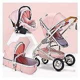XYSQ Kinderwagen Baby 3 In 1, Kinderwagen, Baby-Kinderwagen, Faltbarer Kinderwagen, Kinderwagen Für 0-36 Monate Babywagen, Multi-Position Liegender Sitz, Babytrender-Autositz (Color : Pink)