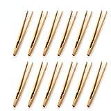 12 x Bambus-Zangen für Toast, aus Bambus, Küchenzange zum Kochen, Tee-Utensilien, Zucker, Bambus, Salatzange, Kongfu Tee, Holz-Tee-Clip, Lebensmittel-T