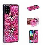 Miagon Flüssig Hülle für Samsung Galaxy A71,Glitzer Weich Treibsand Handyhülle Glitter Quicksand Silikon TPU Bumper Schutzhülle Case Cover-Rosa Schmetterling