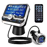 Clydek FM Transmitter Auto, Bluetooth 5.0 Wireless Autoradio-Adapter mit QC3.0 & 5V / 2.4A Dual Charging Port, Einfach an der Entlüftung zu befestigen, Freisprecheinrichtung, Musikspieler