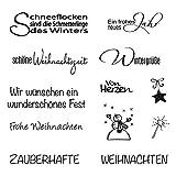 Rayher 59841000 Clear Stamps 'Weihnachten/Winter', klar, transparent, durchsichtig, Stempel Weihnachten, Frohe Weihnachten Stempel, Silikonstempel Winter