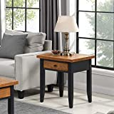B&D home Beistelltisch, Nachttisch, Sofatisch, telefontisch, Couchtisch, für Wohnzimmer, Schlafzimmer, Retro, Kieferholz massiv, Schwarz Braun, mit 1 Schublade, 50 x 50 x 60 cm